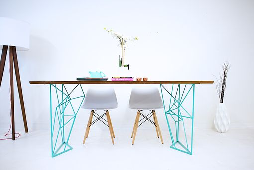 Custom Made The Yoshi Dining Table; Modern Steel Rod Dining Table With Teal Base