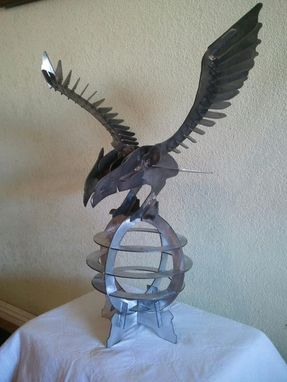 Custom Made 3d Cnc Cut Metal Eagle Art Statue