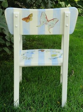 Custom Made Children's Chair Painted With Wild Flowers And  Butterflies