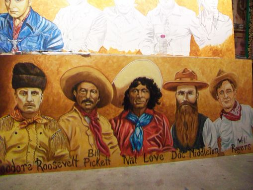 Custom Made Acrylic On Board Portrait For A Mural: Cowboys 2