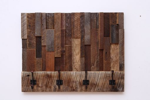 Custom Made Reclaimed Wood Art Coat Rack 24x18.5x4
