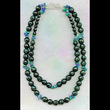 Custom Made Jet Glass, Malachite & Lapis Necklace