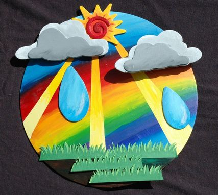 Custom Made Bright Colorful Sunny Rainbow Rainstorm Mixed Media Art Wall Decor