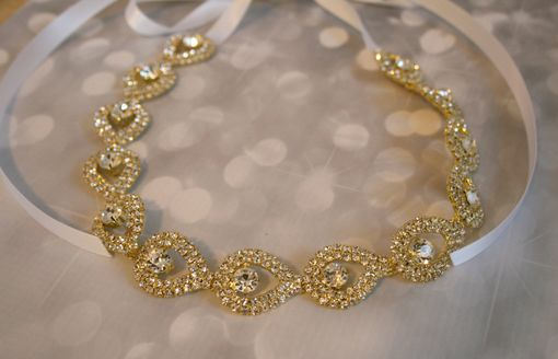 Custom Made Gold Teardrop Rhinestone Bridal Headpiece
