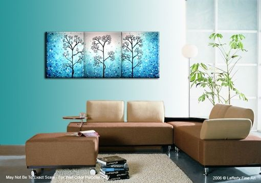 Custom Made Light Blue Trees, Original Modern Large Abstract Fine Art Acrylic Blue Tree Landscape Painting