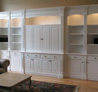 Custom Made Widescreen Tv Cabinet And Library