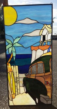Custom Made Woody Car & Beach Stained Glass Window