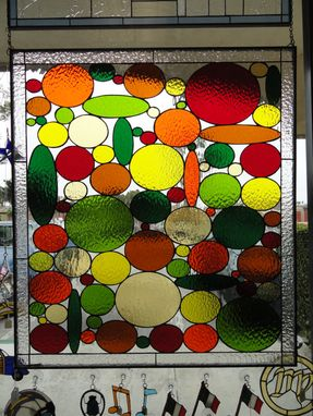 Custom Made Very Colorful Circles & Ovals Stained Glass Panel