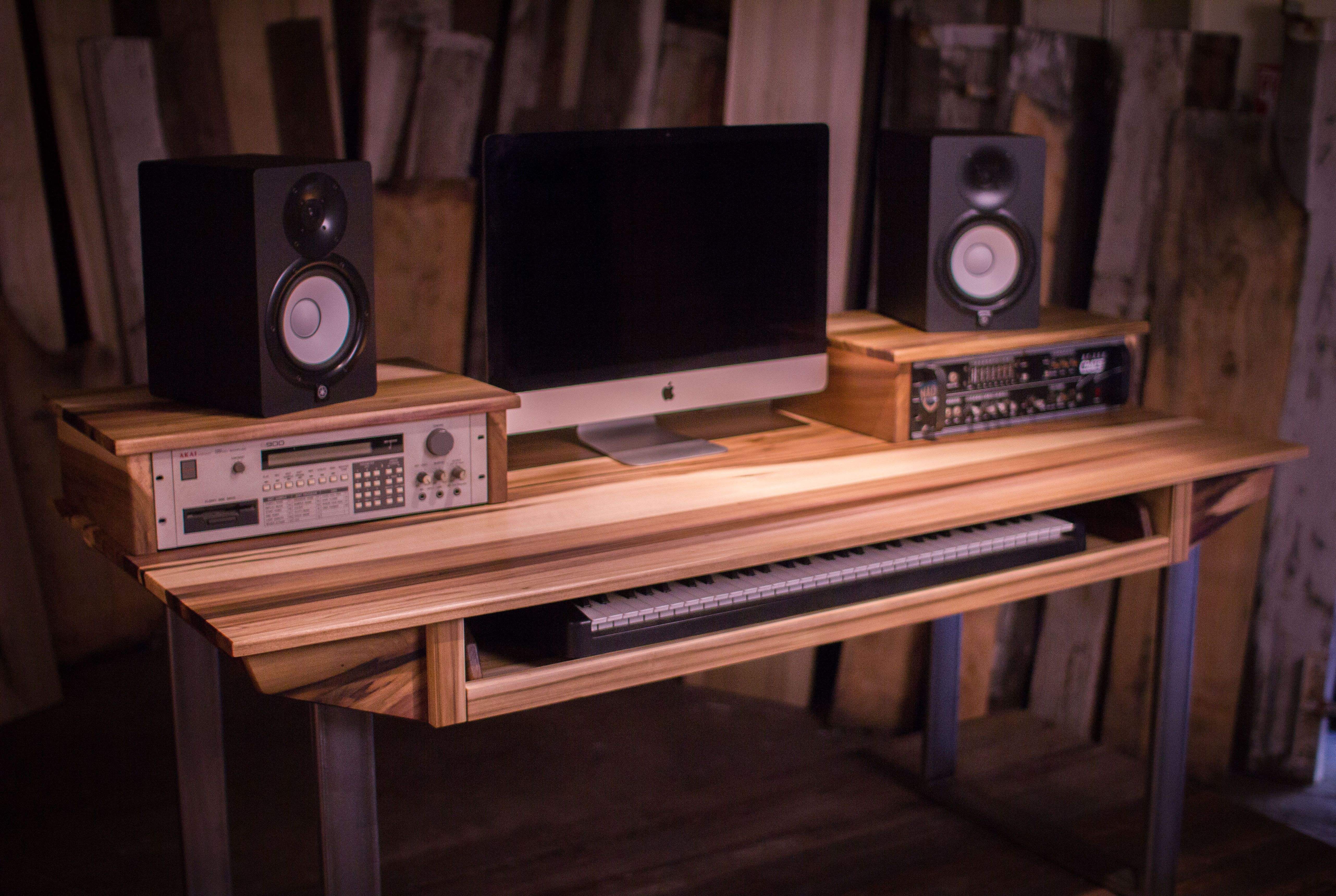 Hand Crafted Studio Desk For Audio Video Production W Keyboard Workstation Shelf And Rack Units By Monkwood Custommade
