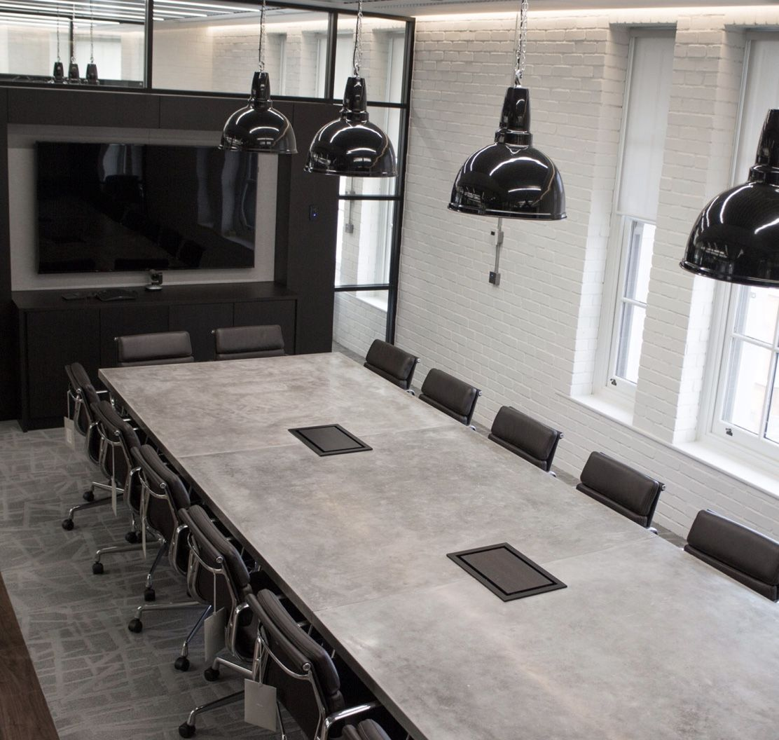 Custom Made Concrete Conference Room Table By Iron Works America - Black conference room table