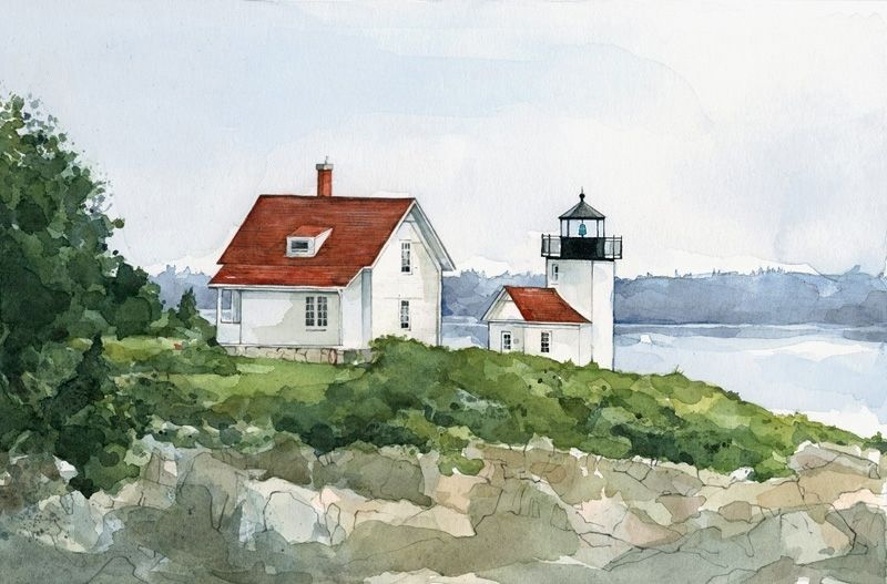 Hand Made Lighthouse Coastal Landscape Watercolor Painting
