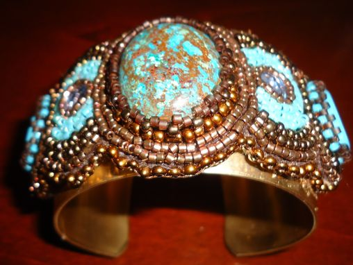 Custom Made Turquoise Cabochons & Crystal Cuff
