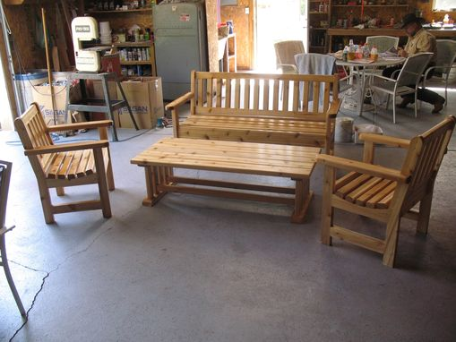 Custom Made Western Cedar Bench Set