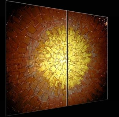 Custom Made Original Abstract Gold Painting, Palette Knife Painting, Original Copper Metallic - 48x30