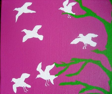 Custom Made Preppy Pink And Green Bird Silhouette Painting On Canvas