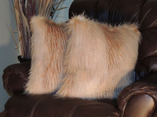Custom Made Golden Feather Ivory Gold Faux Fur 18 X 18 In. Decorative Pillow - Set Of 2