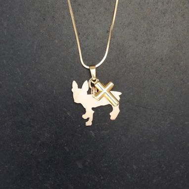 Custom Made Charm, A Silhouette Of A Boston Terrier Dog