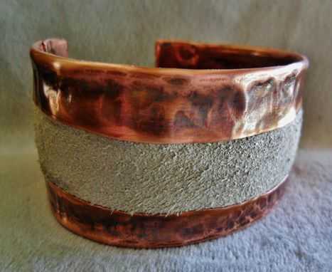 Custom Made Light Grey Suede Leather And Copper Mens Or Womens Cuff