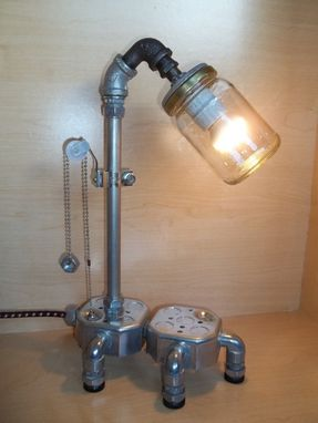 Custom Made Minimalist Industrial Upcycled Repurposed Assemblage Table Or Desk Lamp