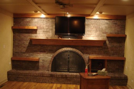 Hand Made Custom Coffer Ceiling And Floating Wood Shelves
