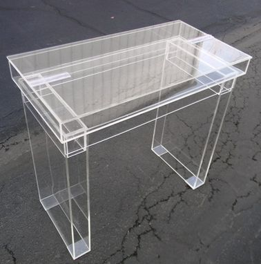 Custom Made Acrylic, Hinged Top Modular Desk.  Hand Crafted, Made To Order- Custom Features Never A Problem
