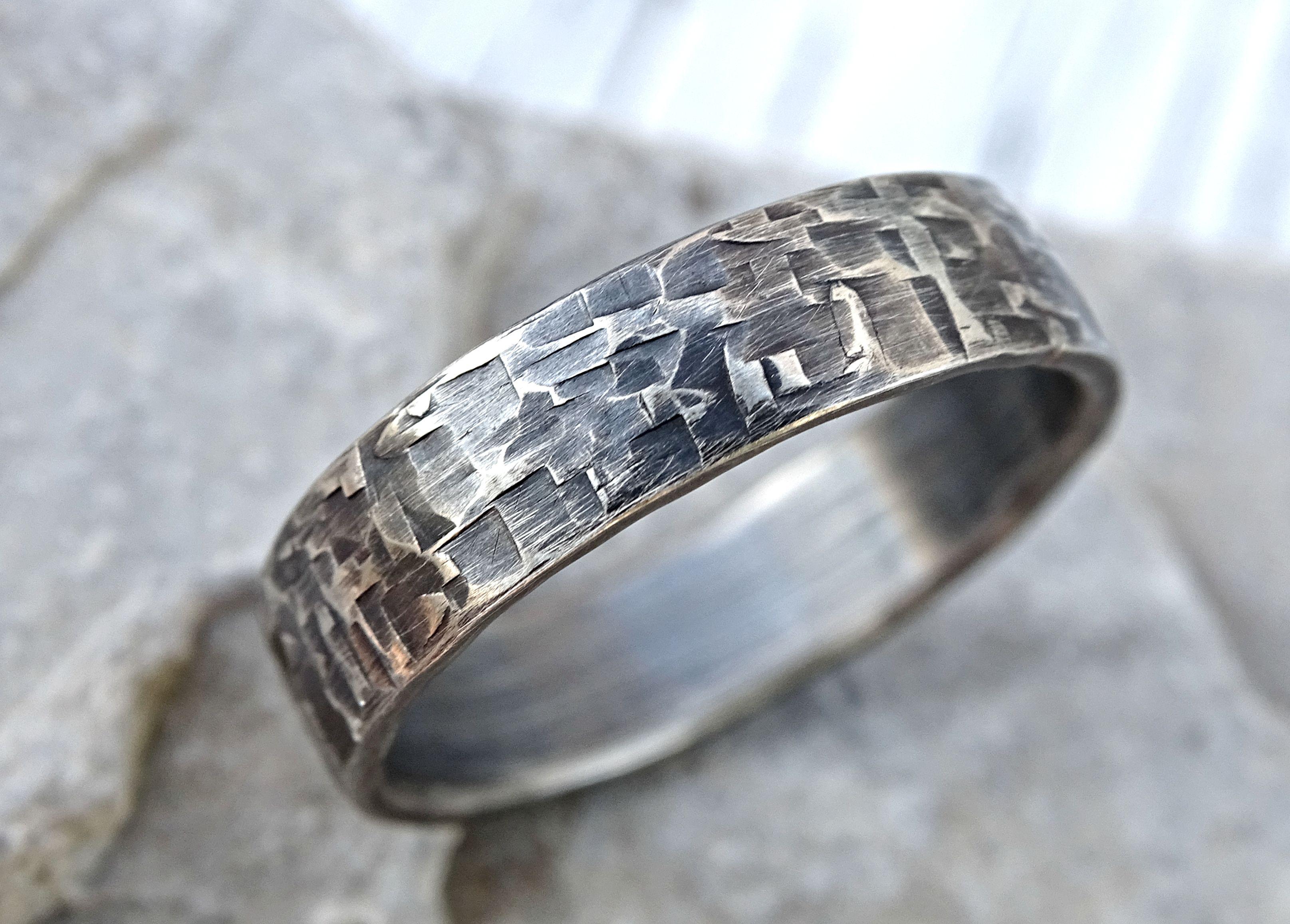 Buy a Hand Made Viking Silver Ring, Cool Mens Wedding Band ...