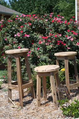 Custom Made Round Barn Wood Stools With Free Shipping!