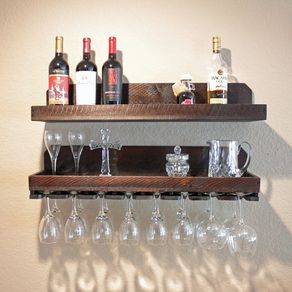 Wall Wine Rack & Glass Holder With Shelf, Rustic Wine Rack (2 Pc Set)