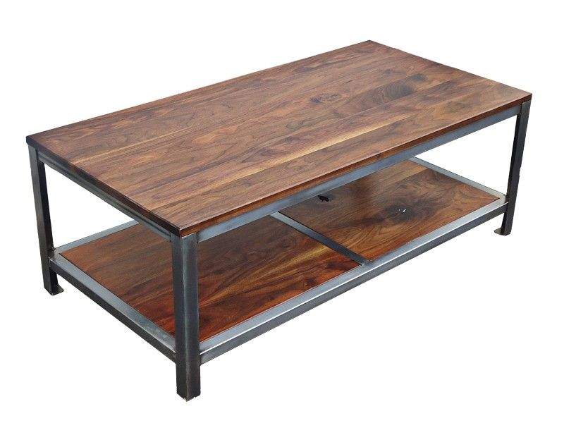 Custom Made Walnut Steel Coffee Table By Kowalski Wood