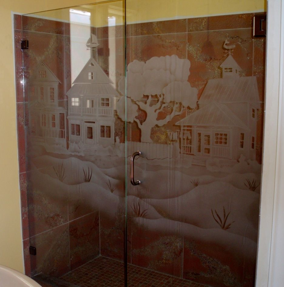 Hand Made Custom Shower Door And Panel By La Mancha Glass
