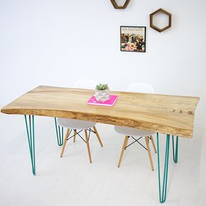 Live Edge Elm Slab With Teal Hairpin Legs - Only 1 Available! 27fa83464
