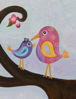 Custom Made Birds Nursery Art For Girl Nursery / Kids Wall Art Decor. Pink & Purple. Painting Not A Print.