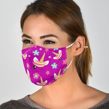 Custom Made Adult Or Child Sized Unicorn Face Mask Reuseable Washable Adjustable Face Mask With 2 Free Filters