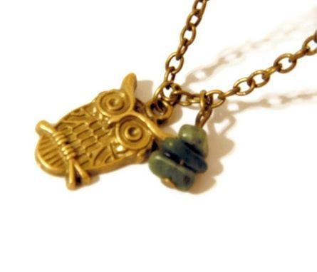 Custom Made Owl Necklace With Tree Agate Gemstone Chips