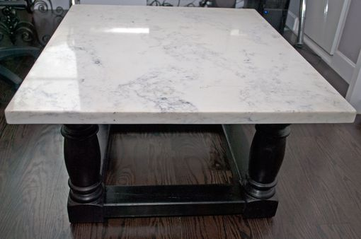 Custom Made Quartz Coffee Table With Ebony Base