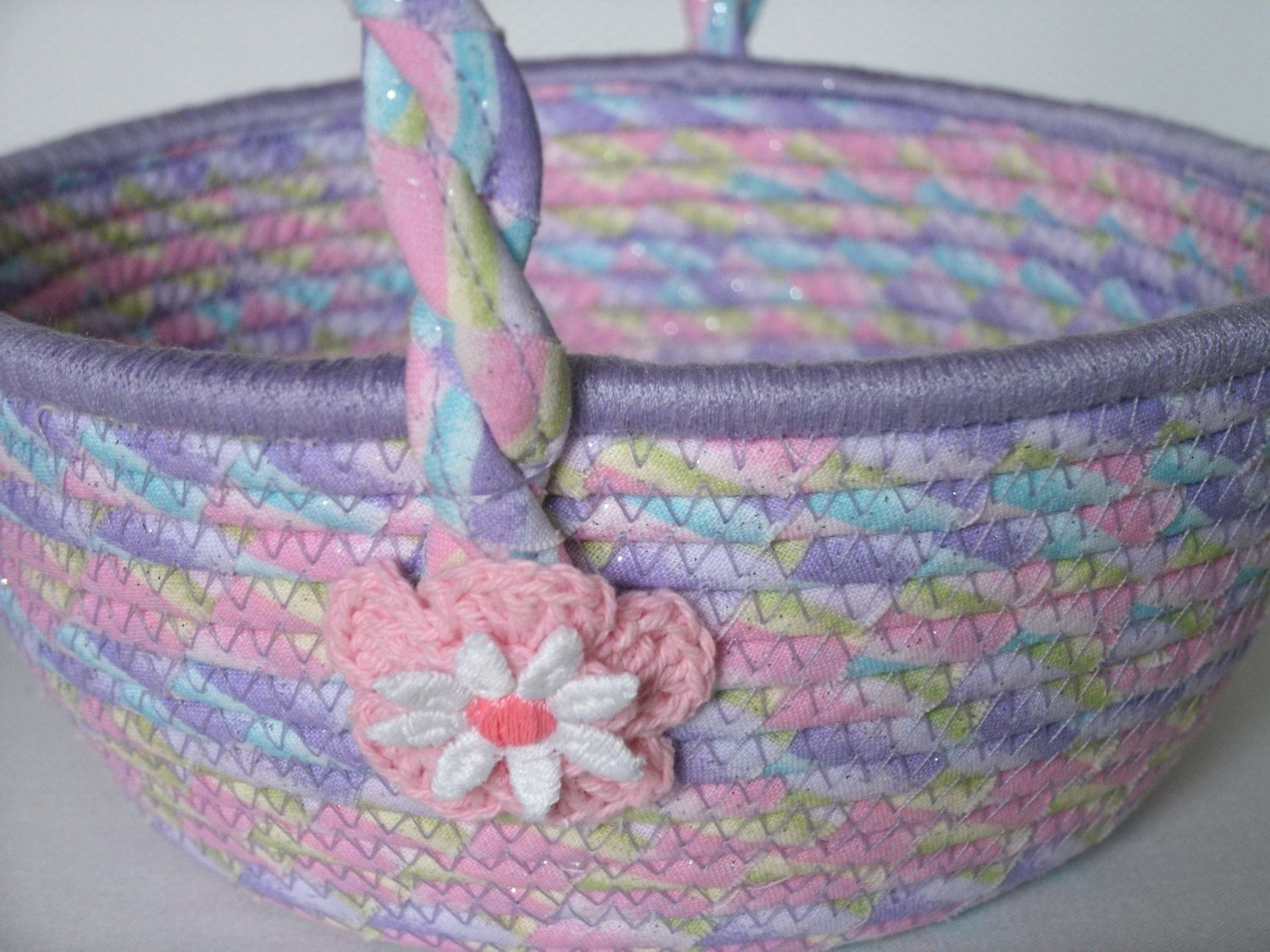 Hand Made Cloth Basket W Handle Coiled Wrapped