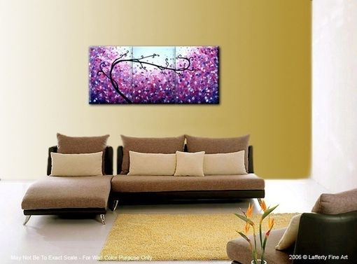 Custom Made Abstract Purple Tree, Original Textured Landscape Painting By Lafferty - 24 X 54 Sale 22% Off