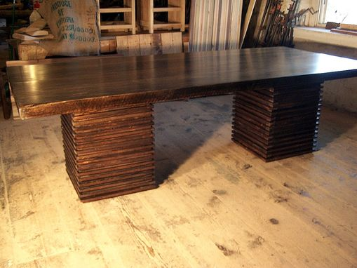 Custom Made Custom Crafted From Reclaimed Wood Urban Modern Pedestal Table