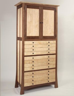 Custom Made Walnut And Curly Maple Jewelry Cabinet