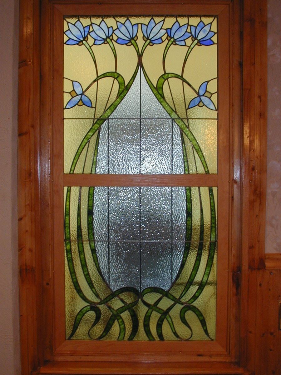 Hand made custom stained glass arts and crafts style for Decorative stained glass windows
