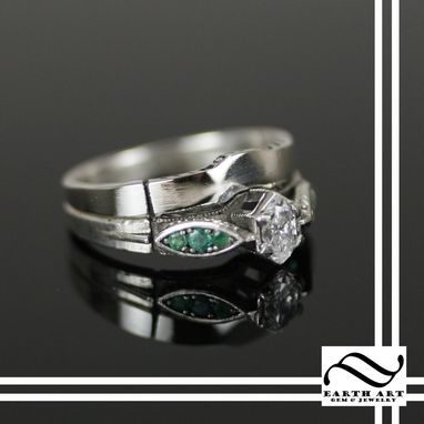 Custom Made Emerald And Diamond Wedding Ring Set