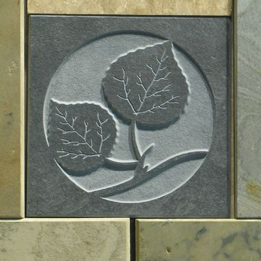 Custom Made Leaves Etched Slate Accent Tile