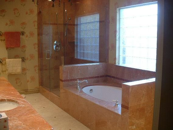 Hand Made Red Stone Shower And Tub Surround by Tile By Kelly ...