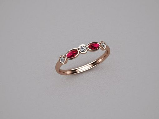 Custom Made Ruby Diamond Five Stone Ring