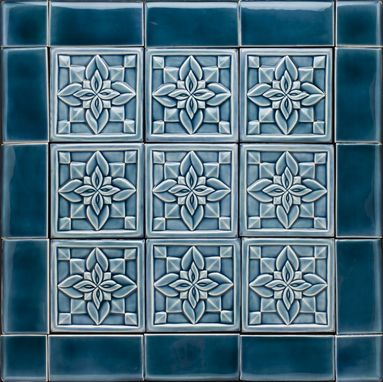 Custom Made Blue Deco Geometric Backsplash