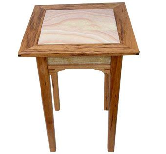 Custom Made Cherry And Honey Onyx End Table