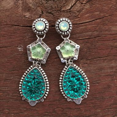 Custom Made Green Glass Statement Earrings