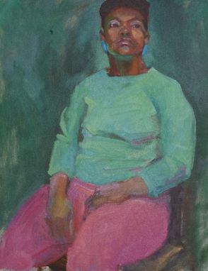 "Custom Made Oil Painting- Portrait ""Seated Woman In Green"""