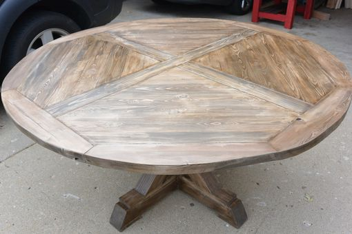 Custom Made Rustic X Base Pedestal Table