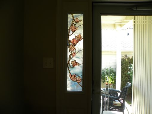 Custom Made Stained Glass Sidelight Of Magnolia Blossoms